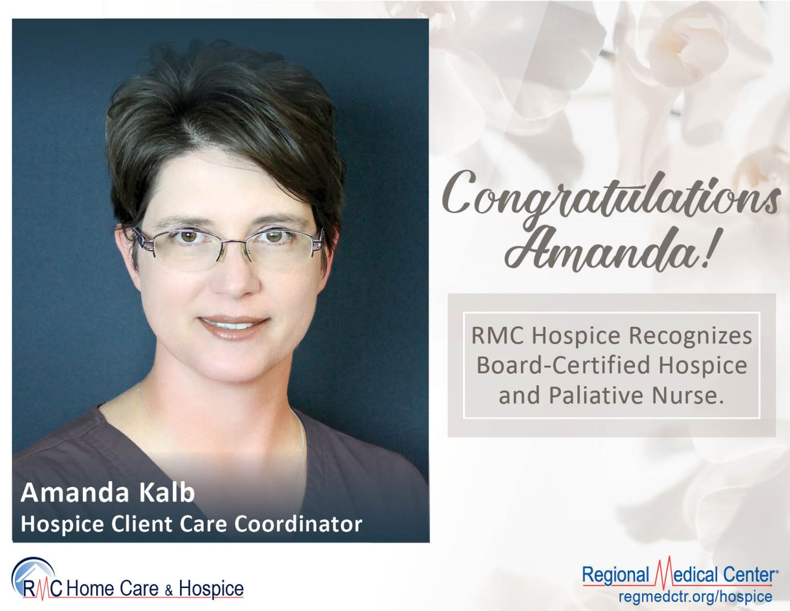 Rmc Hospice Recognizes Amanda Kalb Board Certified Hospice And