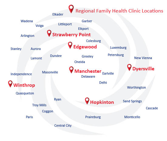 RMC service area with Regional Family Health clinic locations